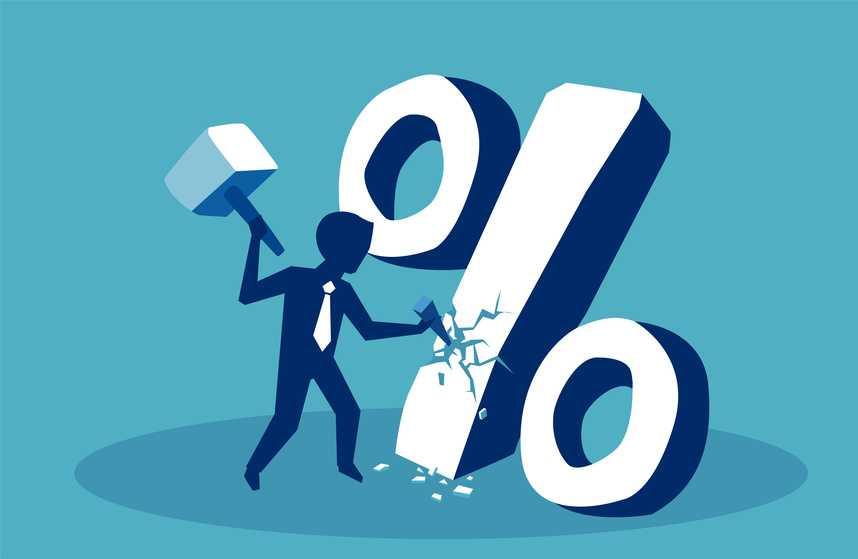Illustrasjon av mann som hugger løs på et prosentsymbol